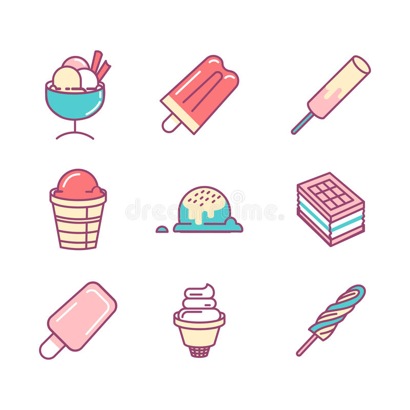 Set of color thin line icons. Ice cream icons isolated. royalty free illustration