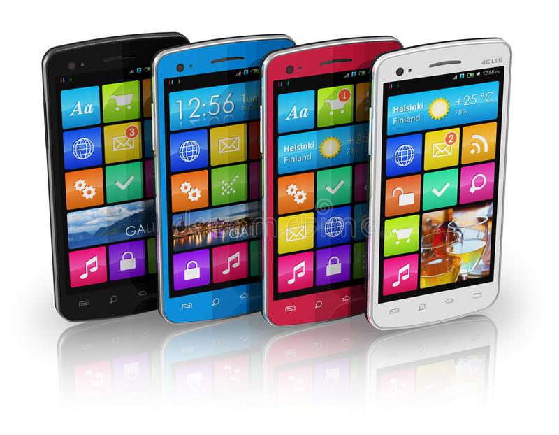 Download Set Of Color Touchscreen Smartphones Stock Illustration - Image: 21897929