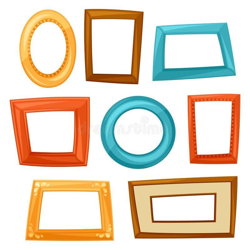 Set of color various frames on white background.  stock illustration
