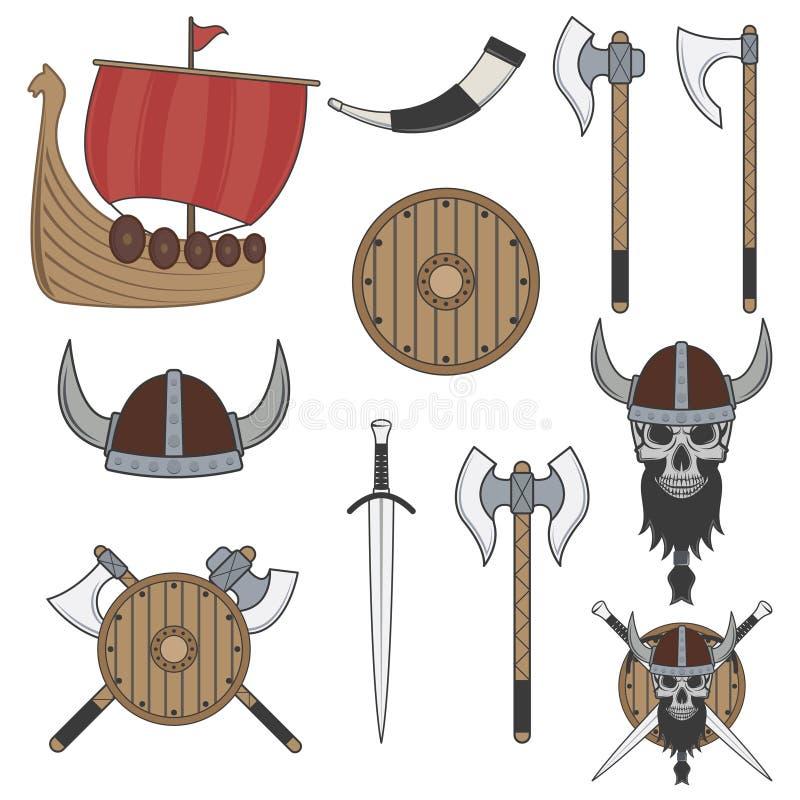 Set of color viking elements isolated on white background stock illustration