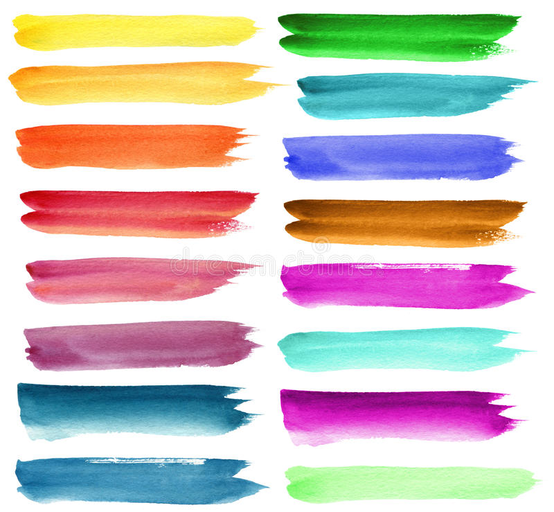 Set of color watercolor brush strokes. Set of colorful watercolor brush strokes. Isolated on white stock photo