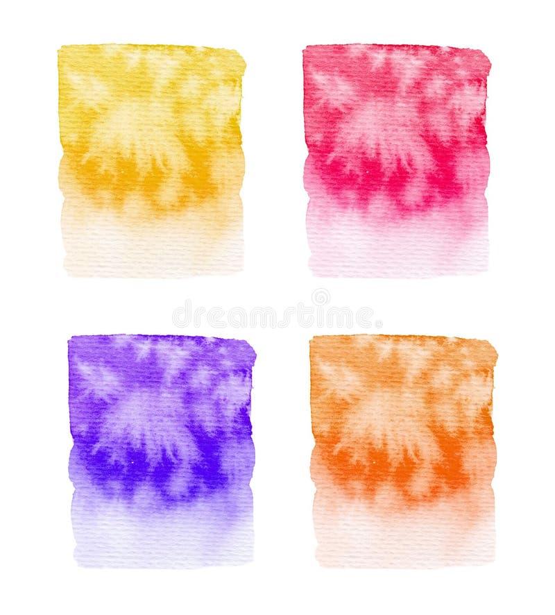 Set of color watercolor paint textures isolated on white background. Set of color watercolor paint textures isolated on white vector illustration