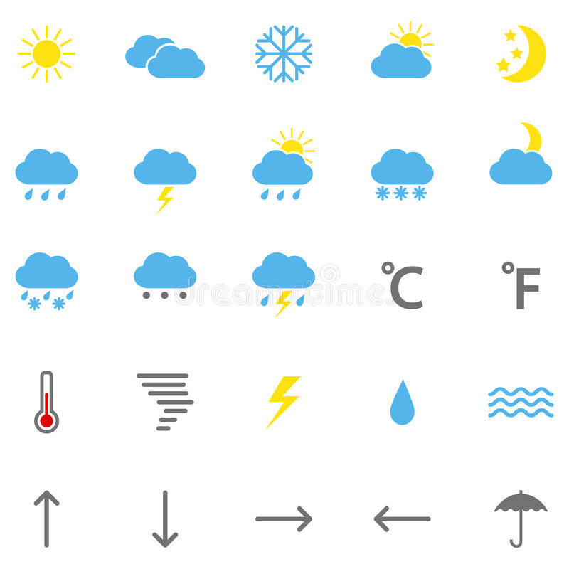 Set Of Color Weather Icons, Illustration Stock Vector - Illustration ...