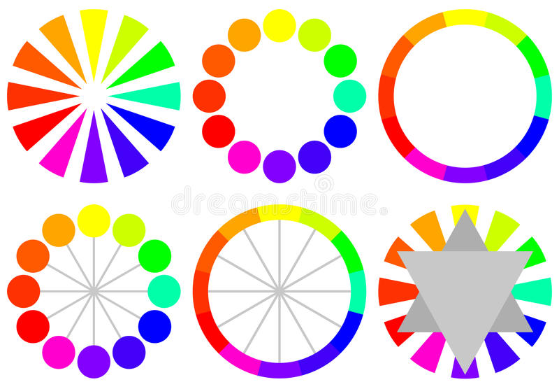 Download Set of Color Wheels stock vector. Image of harmony, analogous - 23017393