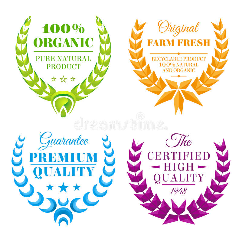 Download Set of color wreath labels stock vector. Illustration of success - 42883264
