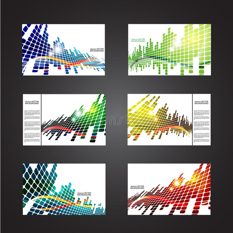 Set of colored abstract backgrounds with squares stock illustration