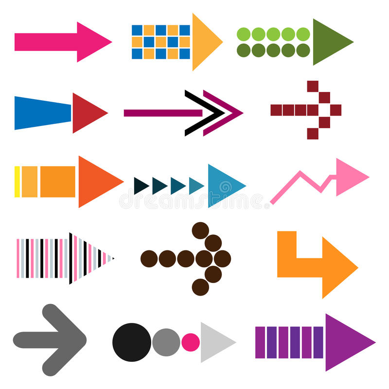 Set of colored arrow icons. Collection of fifteen colored arrow icons for your design isolated on white background.EPS file available stock illustration