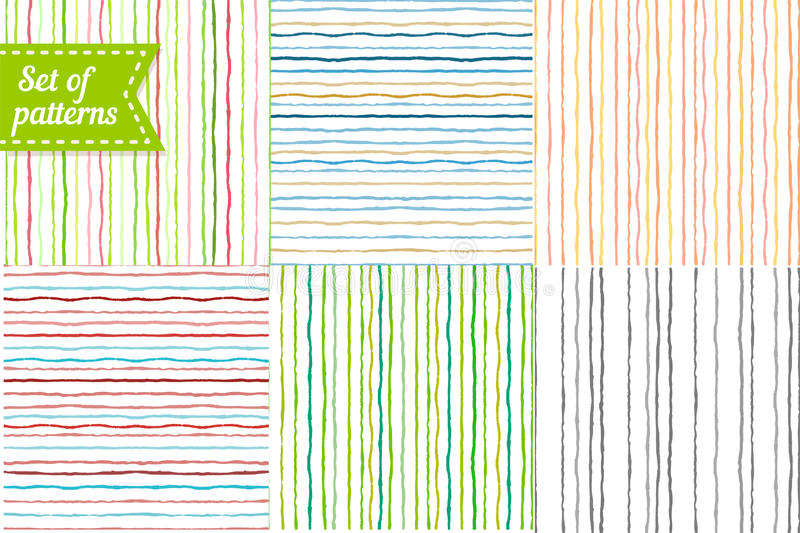 Set of colored backgrounds with stripes. Seamless royalty free illustration