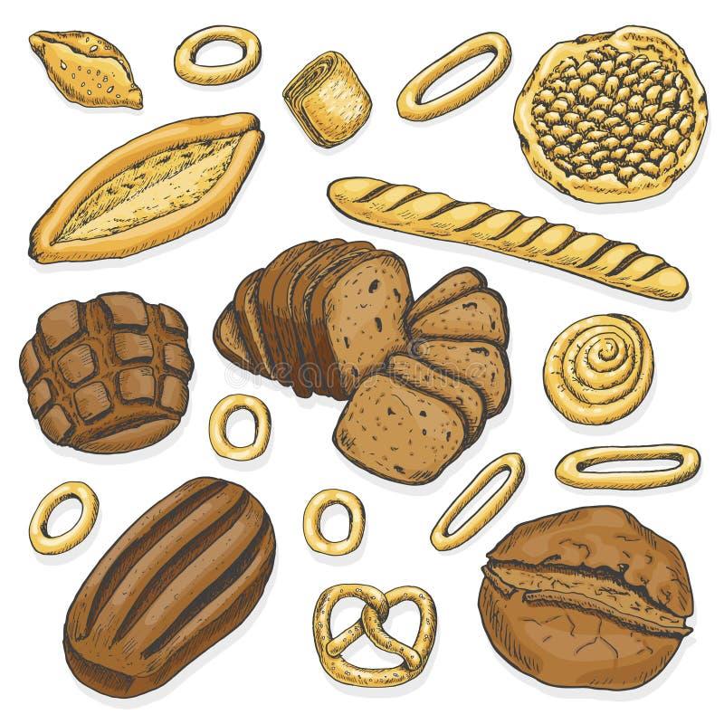 Set of colored Bakery. Organic food. royalty free illustration