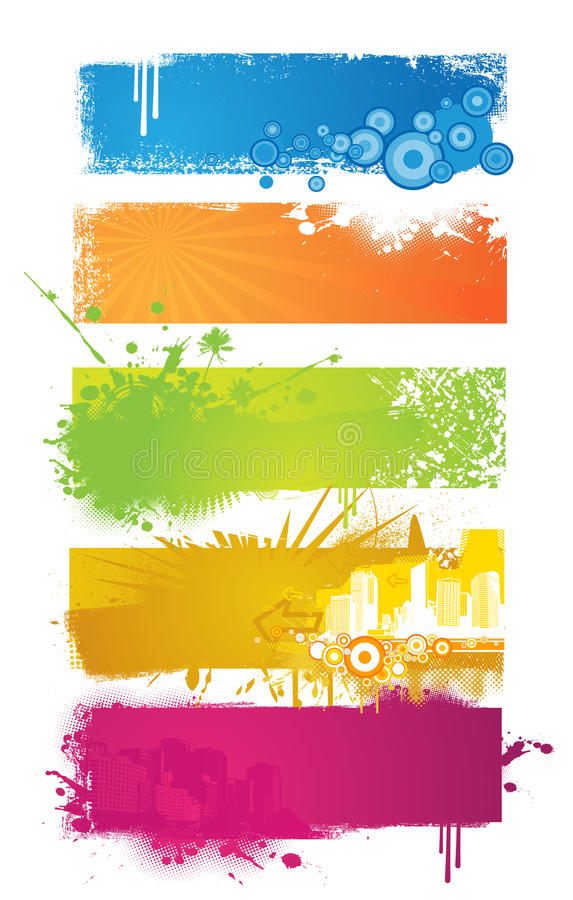 Set of colored banners. stock photo