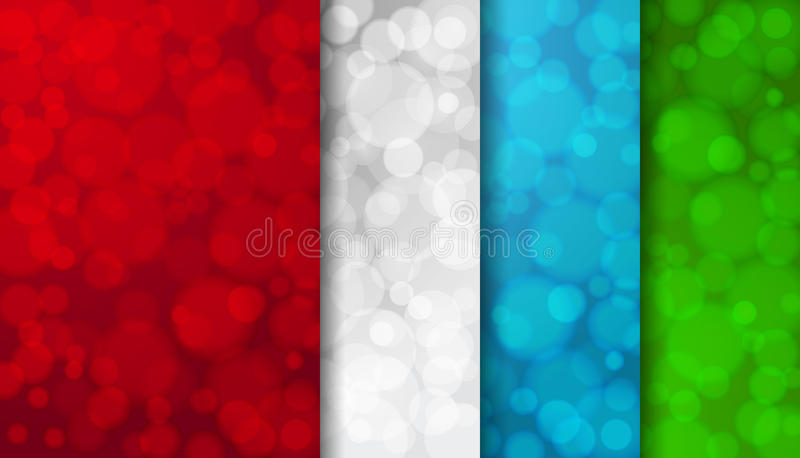 Set of colored blurred backgrounds with twinkly lights royalty free illustration