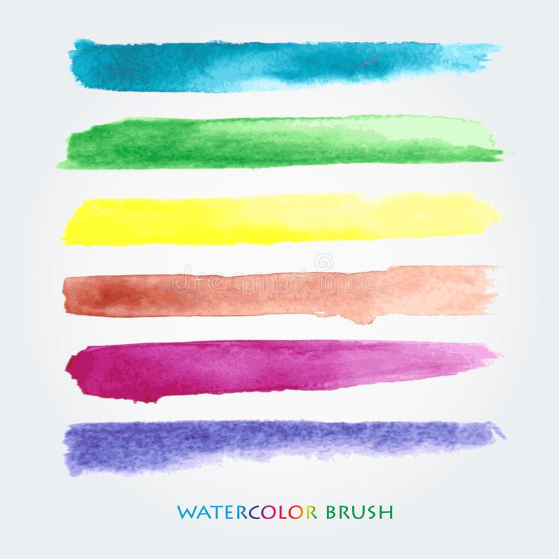 Set of colored brush strokes created with watercolors. Saved in the brushes palette royalty free illustration