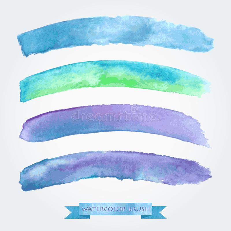 Set of colored brush strokes created with watercolors. Saved in the brushes palette stock illustration