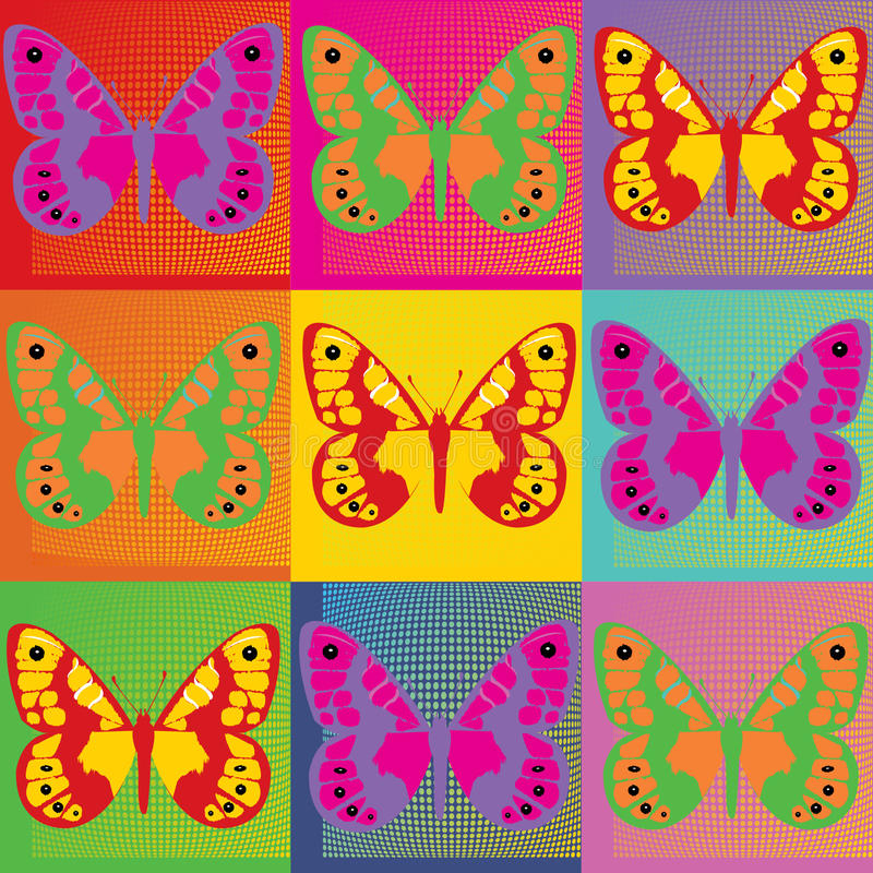 Set of colored butterflies illustration Pop Art royalty free illustration