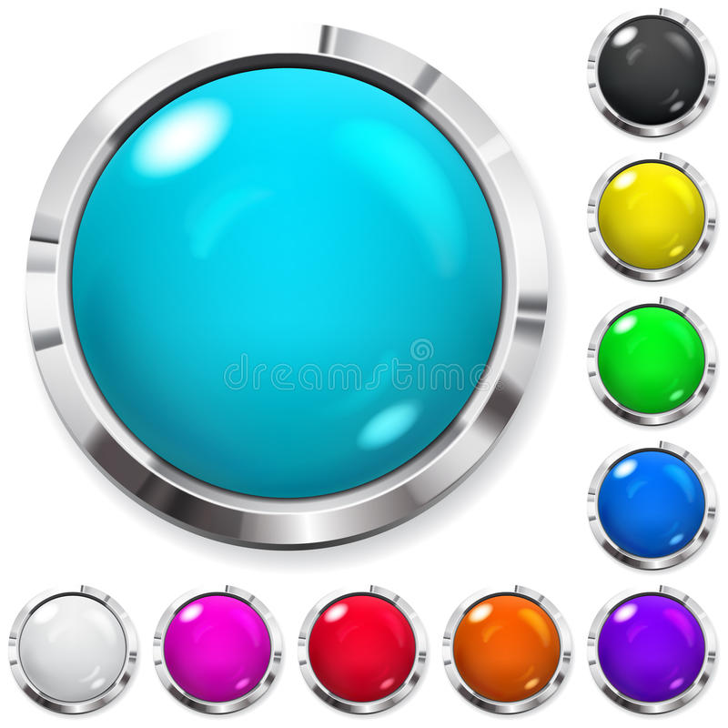 Set of colored buttons. Set of realistic colored buttons with metallic borders royalty free illustration