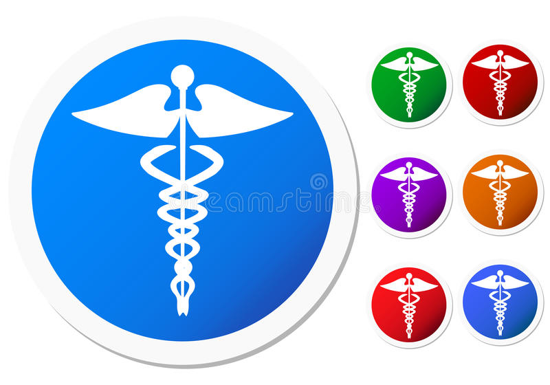 Set Of Colored Caduceus Symbols Stock Illustration Illustration Of