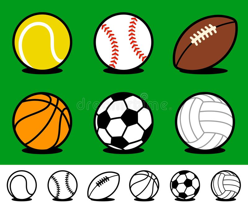 Set of colored cartoon sports ball icons royalty free illustration