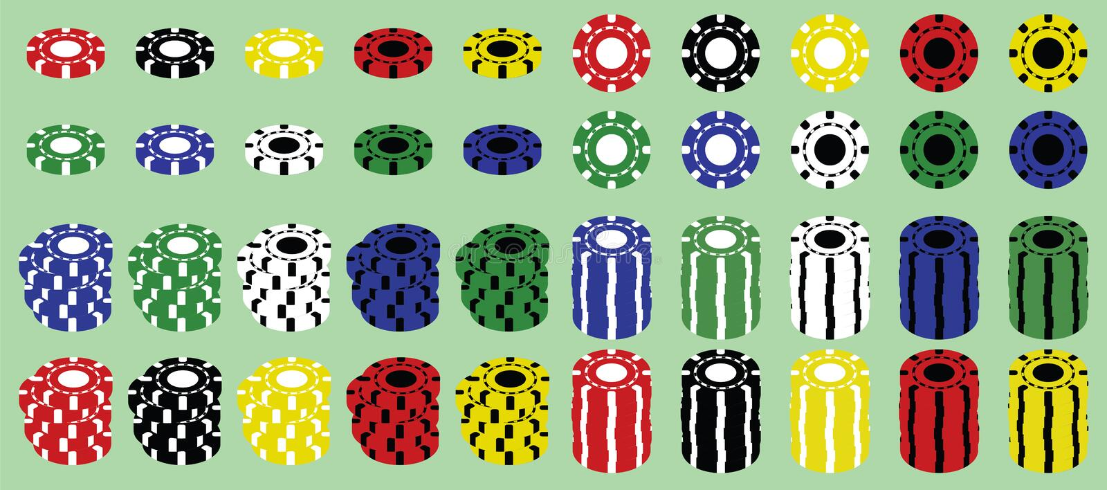 Set of casino chips. Set of colored casino poker chips royalty free illustration