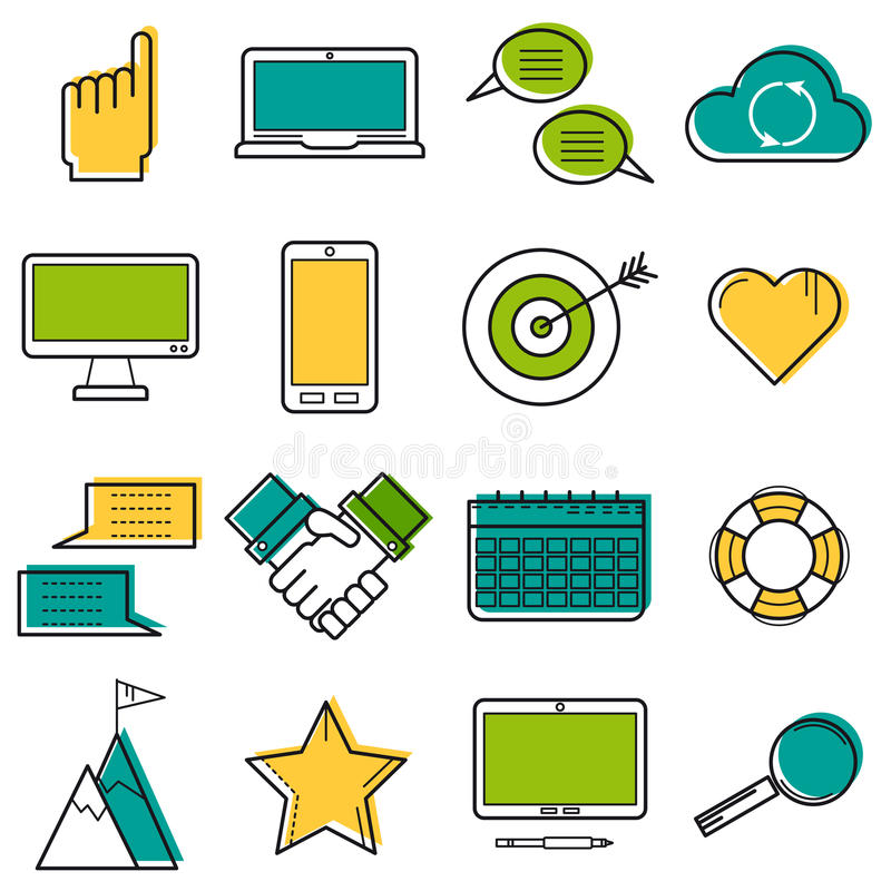 Set colored computer line icons stock illustration