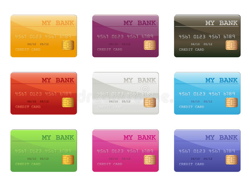 Set Of Colored Credit Cards Royalty Free Stock Image