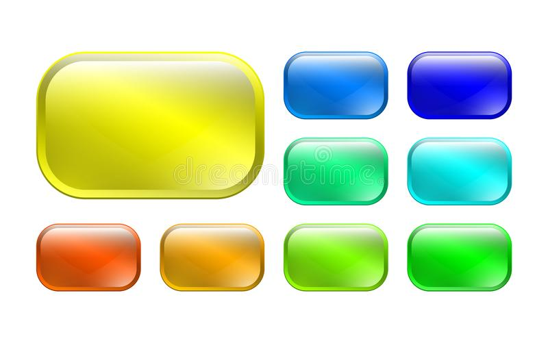 Set of colored 3d buttons stock illustration