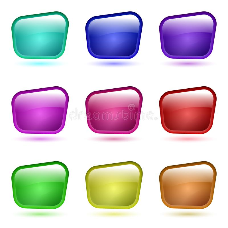 Set of 3d glass button royalty free illustration