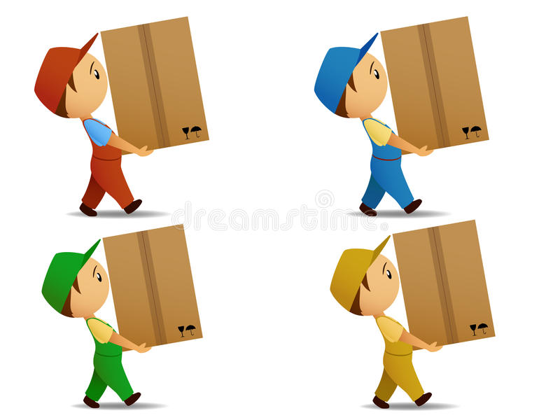 Set colored delivery boy with box stock illustration