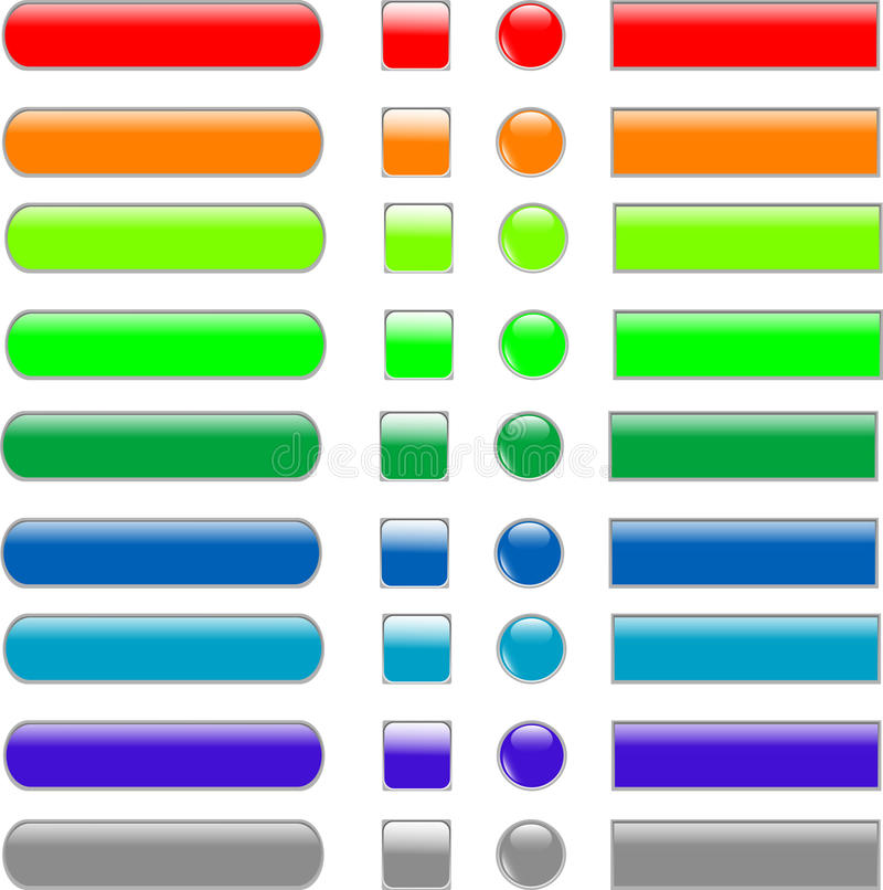 Free Set Colored Empty Web Button Royalty Free Stock Photography - 19543137