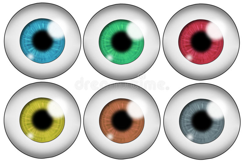 Set of colored eyes. Set of six human eyeballs of different colors. Isolated on white background royalty free illustration