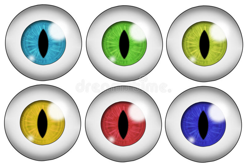 Set of colored eyes. Set of six beast or demonic eyeballs of different colors. Isolated on white background royalty free illustration