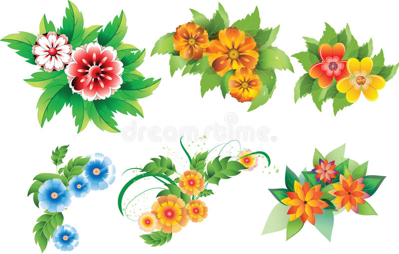 Set Of Colored Flowers Stock Photo