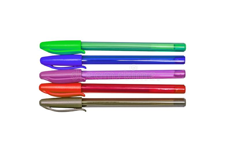 A set of colored gel ballpoint pens. Brown, pink, red, blue, green with caps. Isolated on white stock image