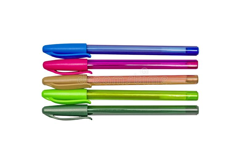 A set of colored gel ballpoint pens. Lime, orange, pink, blue, green with caps. Isolated on white stock photos