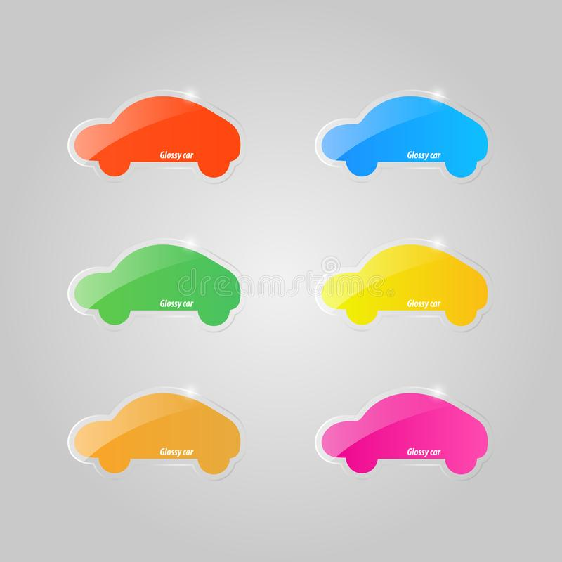 Set of colored glass icons of cars on a gray background. royalty free illustration