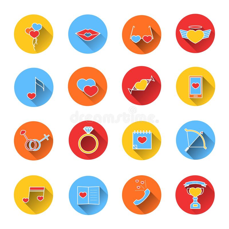 Set of colored icons for Valentine's day. Collection of colorful vector icons in flat style. Elements of design for web design, mobile applications, romantic royalty free illustration