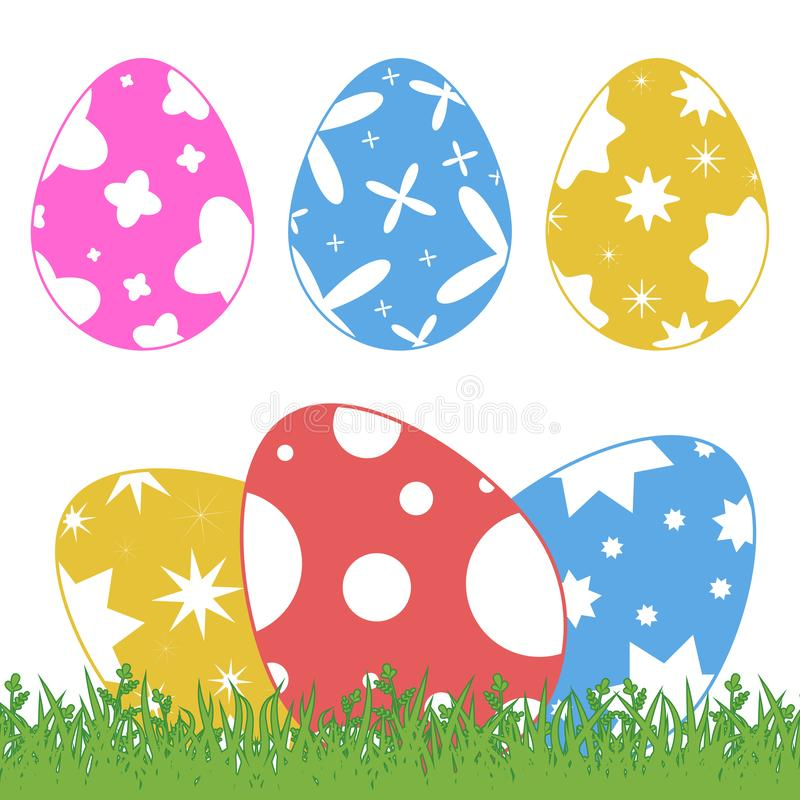 Set of colored isolated Easter eggs on green grass on a white background. With an abstract pattern. Simple flat vector vector illustration