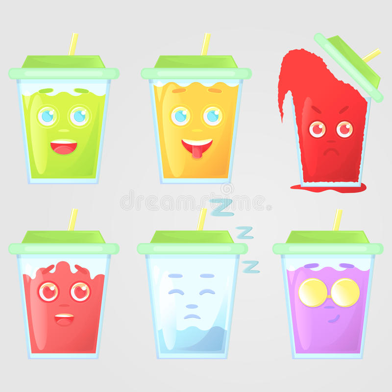 Set of colored juice with emotions. Funny, showing tongue, very angry, in love, sleep, cool glasses, smirk face. royalty free illustration