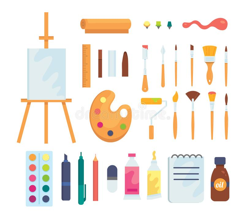 Set of colored painting tools vector icons in cartoon style. Supplies, art brushes and easel. Artist or school vector illustration