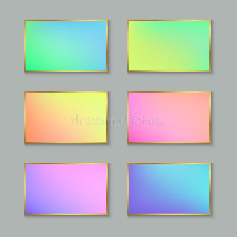 Set of Colored Pastel Gradient Cards or Banners with Stylized Go stock illustration