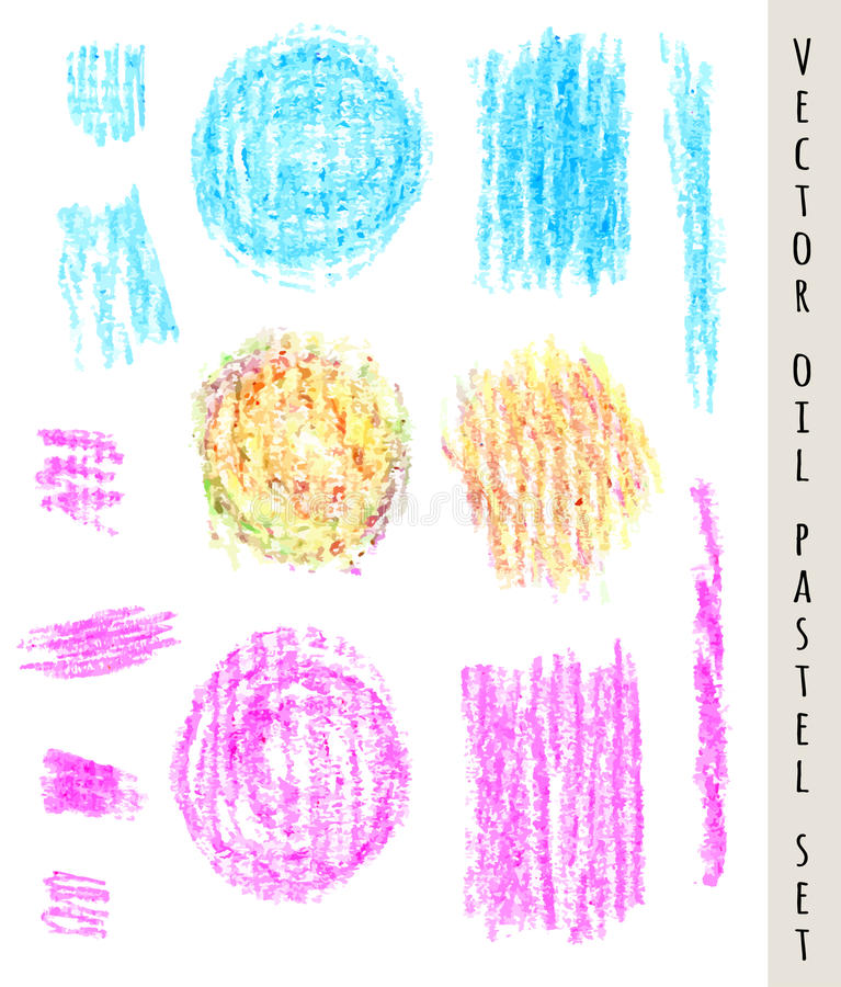 Set of colored pastel spots and brush strokes. Hand drawn design elements. Grunge vector illustration. Pastel crayons and pencil vector illustration