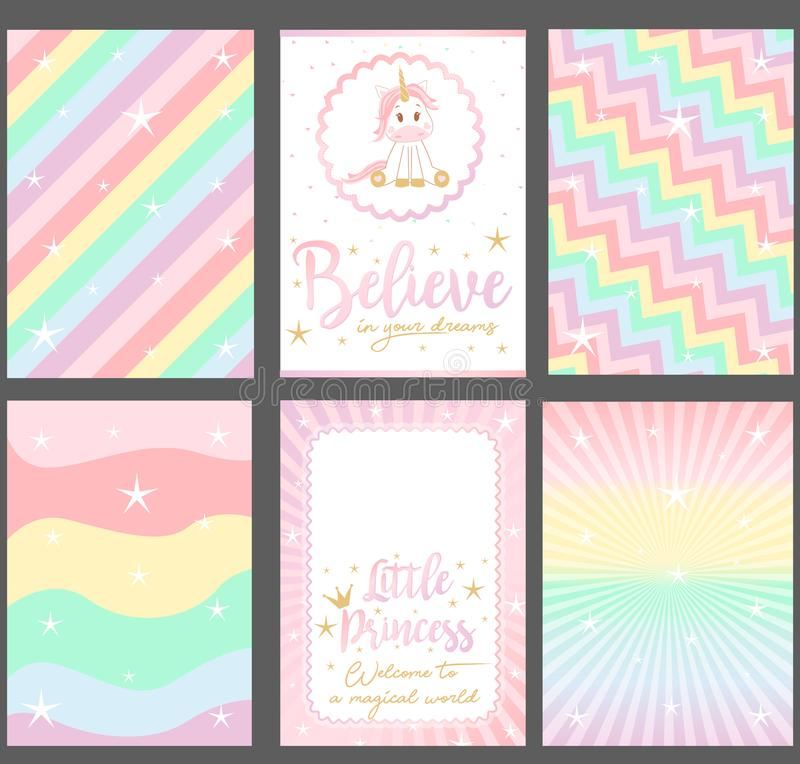 Set of colored pastel vector cards for party invitation. Rainbow background. `Unicorn` baby shower. royalty free stock photos