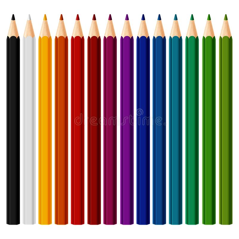 Set of colored pencil collection evenly arranged vector illustration