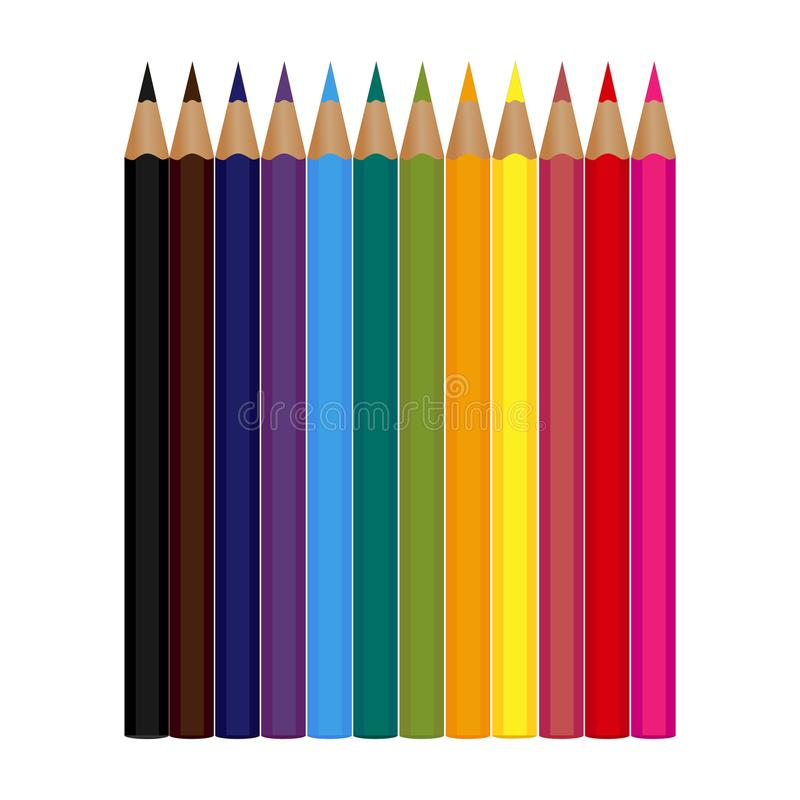 Set of 12 colored pencils isolated on a white background. Vector illustration royalty free illustration