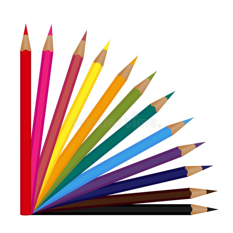 Set of 12 colored pencils isolated on a white background. Vector illustration stock illustration
