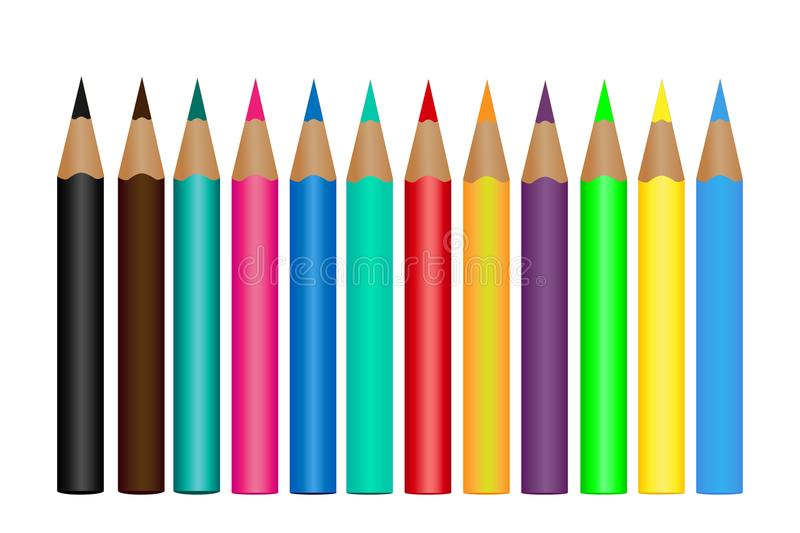 Set colored pencils isolated on a white background. Vector illustration royalty free illustration