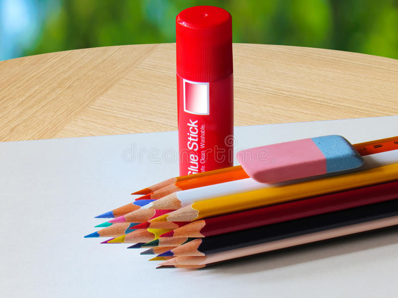 A set of colored pencils stock image