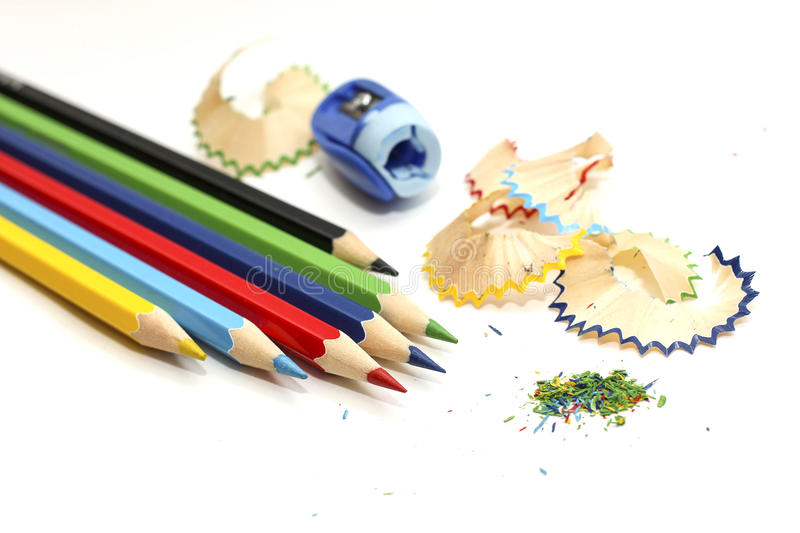 A set of colored pencils. A set of sharpened colored pencils royalty free stock photography
