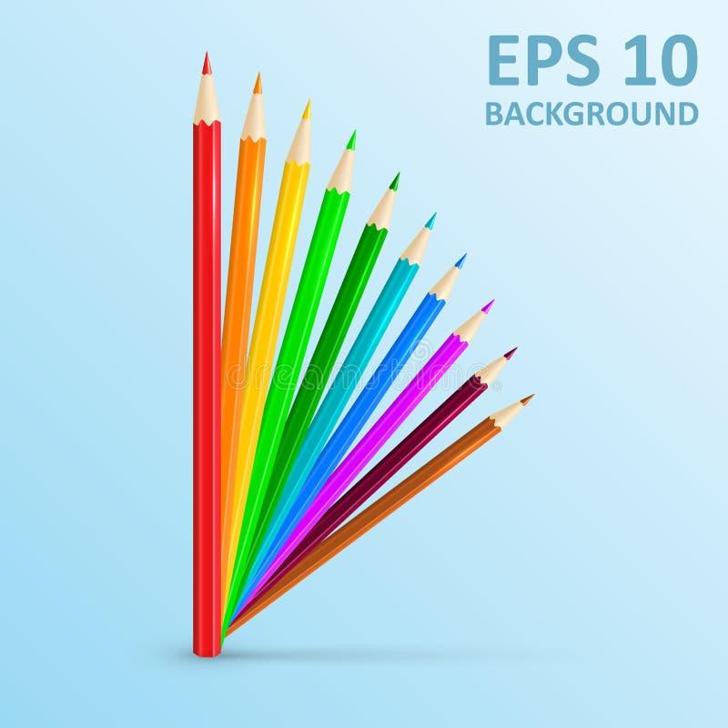 Set of colored pencils. Vector illustration. Color pencils concept. stock images