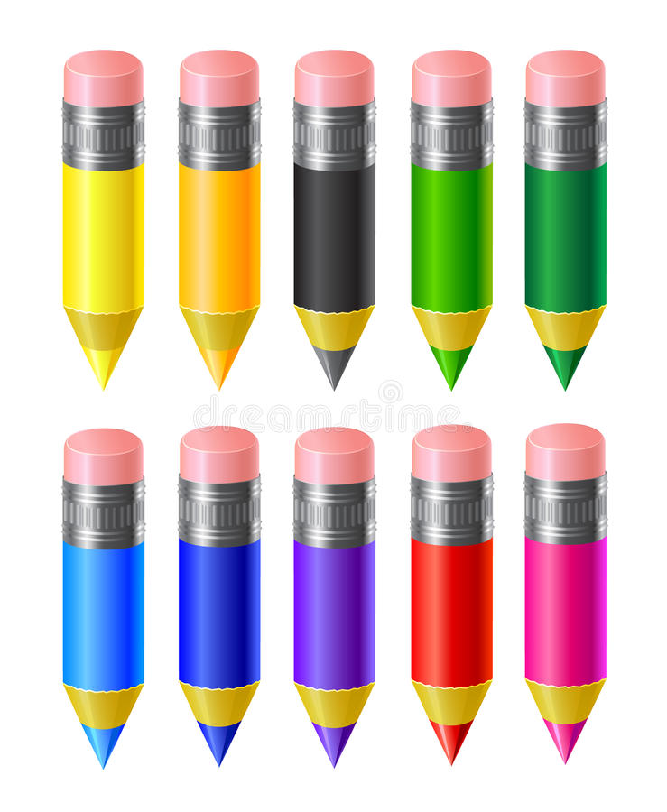 Set colored pencils. Set of colored pencils on a white background royalty free illustration