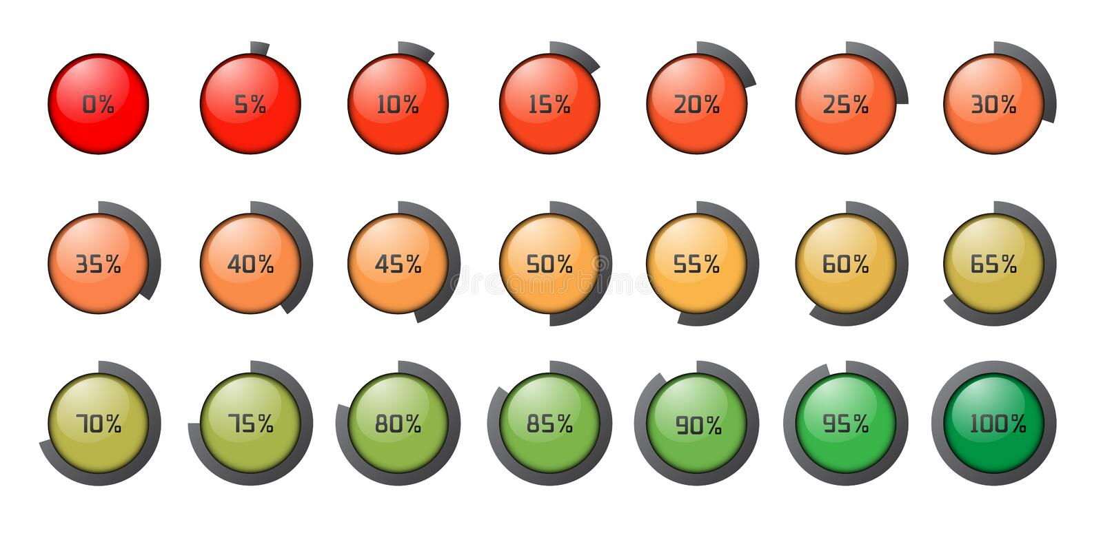 Set of the colored percent circles icons. vector illustration